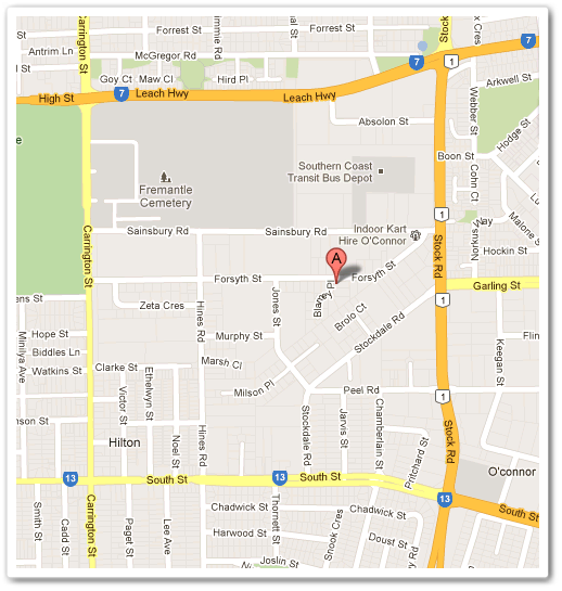 map for larners oysters, 85 forsyth street, o'connor 6163 perth wa